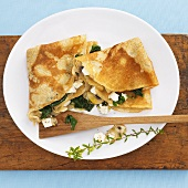 Buckwheat crêpes with vegetables and fresh goat's cheese