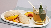 Calf's liver mousse with peppered peaches