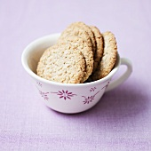 Oat and nut biscuits in a cup