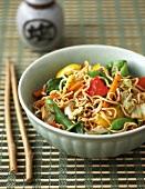 Chow mein (Eiernudeln mit Gemüse und Hähnchen, China)