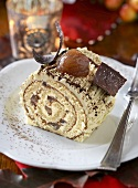 Sponge roulade with sweet chestnut