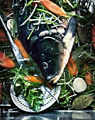 Carp on a bed of vegetables