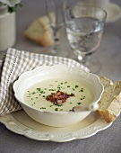 Cream of potato soup with crispy bacon