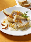 Fried redfish fillets with apples and caviar