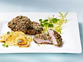 Pork escalopes with herb crust