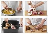 Preparing lamb shanks with diced vegetables