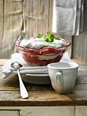 Rhubarb trifle with sponge and lime quark cream