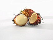 Rambutan, partly peeled