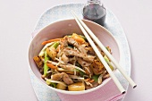 Pork fillet with stir-fried vegetables