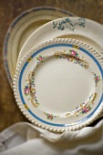 Antique tableware with floral design