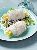 Zander rolls on wild rice