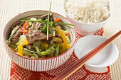 Stir-fried cabbage with duck
