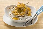 Caribbean pork escalopes with rice
