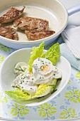 Egg salad with turkey escalopes