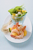 Greek shrimp and spinach salad