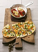 Pointed pepper with couscous salad & mixed vegetable tarte flambée