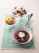 Elderflower mousse with fruity berry soup