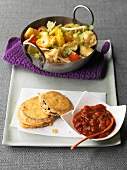 Mixed vegetable curry & aubergine piccata with tomato salsa