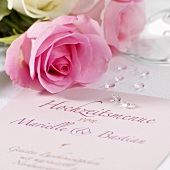 Wedding menu and roses