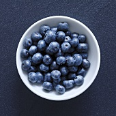 Blueberries in small white bowl