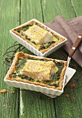 Two fish and spinach quiches
