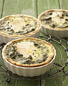 Cod and spinach quiches