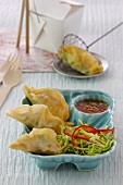 Jiaozi with prawn filling, cabbage salad and chilli dip