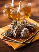Chocolate madeleines with tea