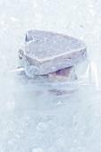 Frozen tuna steaks on ice