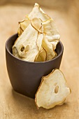 Dried pear slices in a pot