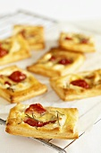 Cocktail tomato & mozzarella puff pastry tarts with rosemary