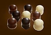 Chocolate teacakes with milk, dark and white chocolate