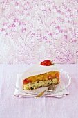 A piece of mascarpone fruit cake