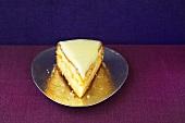 A piece of white Sachertorte (chocolate cake)