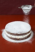Dusting a cake with icing sugar