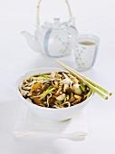 Ramen noodles with mushrooms