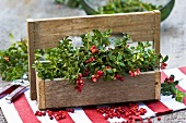 Cranberries in a wooden carrier