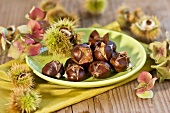 Hot chestnuts on a plate