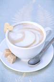Cappuccino with heart-shaped biscuit and sugar cubes
