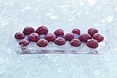 Raspberries frozen in a block of ice