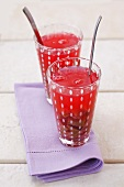Rhubarb compote in two glasses
