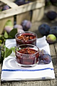 Plum jam in two glasses