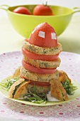Breaded courgette slices with tomato salad