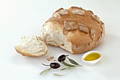 Bread baked in stone oven, a piece broken off, olive oil, olives