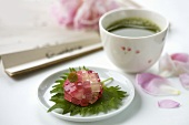 Wagashi (sweet rice ball with jelly cubes, Japan) & green tea