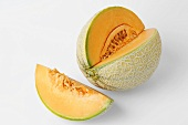 Netted melon with a section removed
