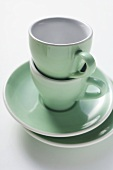 Green espresso cups and saucers