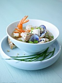 Fish soup with prawns and shellfish