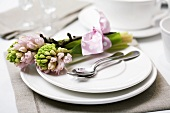 Place-setting with hyacinths