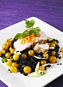 Chicken fillet with Beluga caviar, yellow cherry tomatoes & leeks
